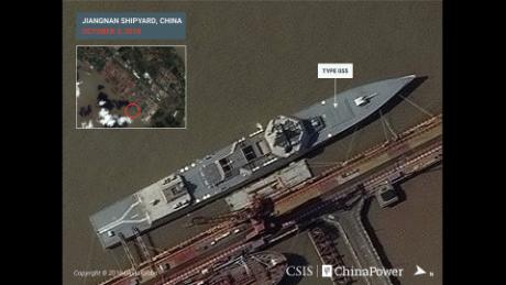 An annotated satellite image of a Type 055 destroyer waiting in the dock at Jiangnan shipyard outside of Shanghai.