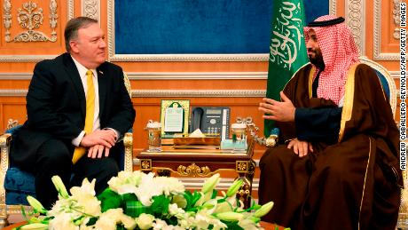 US Secretary of State Mike Pompeo meets with Saudi Crown Price Mohammed bin Salman at the Royal Court in Riyadh on January 14, 2019.