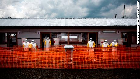 Health workers inside the red zone at a new Doctors Without Borders Ebola treatment center in Bunia, Democratic Republic of Congo.