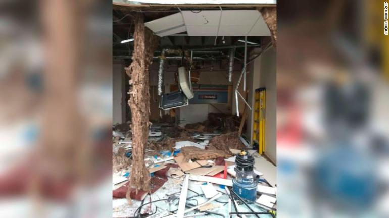 The damage inside the premises.