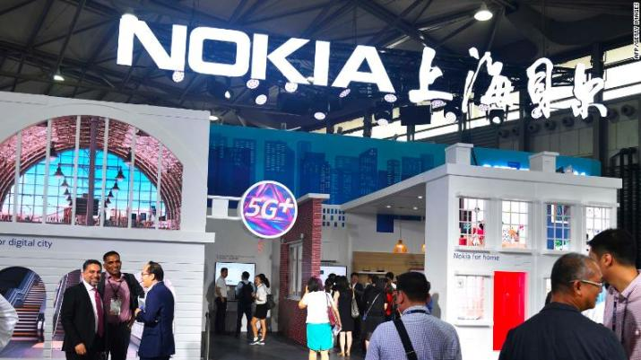 A Nokia booth at a mobile conference in Shanghai. Nokia and Ericsson are said to be treading carefully around the controversy surrounding Huawei for fear of prompting a backlash in China, a key market.
