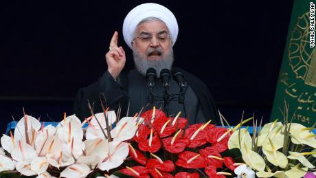Iranian President Hassan Rouhani speaks during a ceremony celebrating the 40th anniversary of the Islamic Revolution in Azadi Square, Tehran, on February 11, 2019.