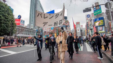 RAUP gathered to shout anti-Valentine's day slogans in Tokyo, Japan.