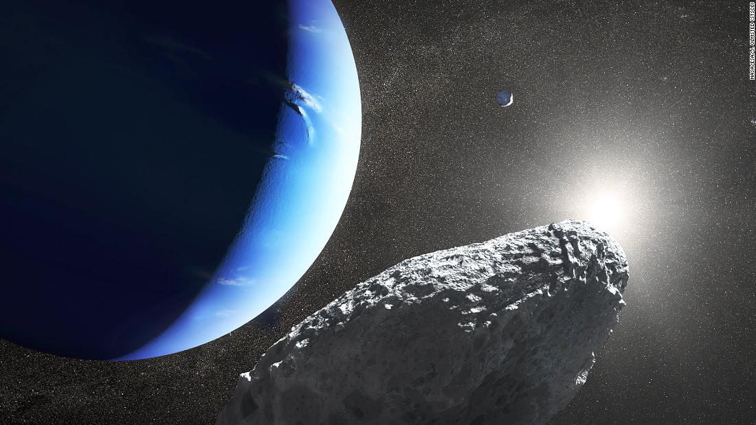 This is an artist's concept of the tiny moon Hippocamp that was discovered by the Hubble Space Telescope. Only 20 miles across, it may actually be a broken-off fragment from a much larger neighboring moon, Proteus, seen as a crescent in the background.