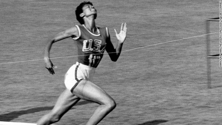 Track star Wilma Rudolph, 20, lunges across the finish line at the 1960 Summer Olympics in Rome.