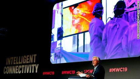 Doctor Antonio Lacy of Hospital Clinic de Barcelona delivers a speech about the first 5G tele-mentored live surgery at the Mobile World Congress (MWC) in Barcelona on February 27, 2019. - Phone makers will focus on foldable screens and the introduction of blazing fast 5G wireless networks at the world's biggest mobile fair as they try to reverse a decline in sales of smartphones. (Photo by Pau Barrena / AFP)        (Photo credit should read PAU BARRENA/AFP/Getty Images)