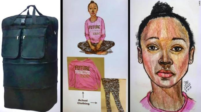 The girl's body was found in a roll-away black duffel bag, authorities said.