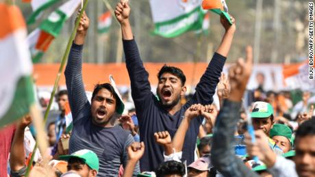 Indian Congress party supporters at a public rally in Guwahati on February 26, 2019.