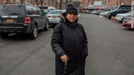 April Simpson, president of the Queensbridge Tenant Association, hosted Patton at her home.