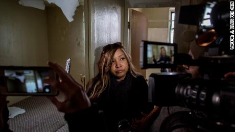 Lynne Patton, Administrator of the United States Department of Housing and Urban Development for Region II, talks to the media in the damaged apartment of Miriam Montaez, 53, as she leads members of the media on a walking tour of Queensbridge Houses, the largest public housing complex in the US, in Queens, New York, Wednesday, March 6, 2019. Ms. Patton is a Trump appointee and vocal supporter of the president, who recently appeared at a congressional hearing for former Trump lawyer Michael Cohen. Photograph: Victor J. Blue for CNN
