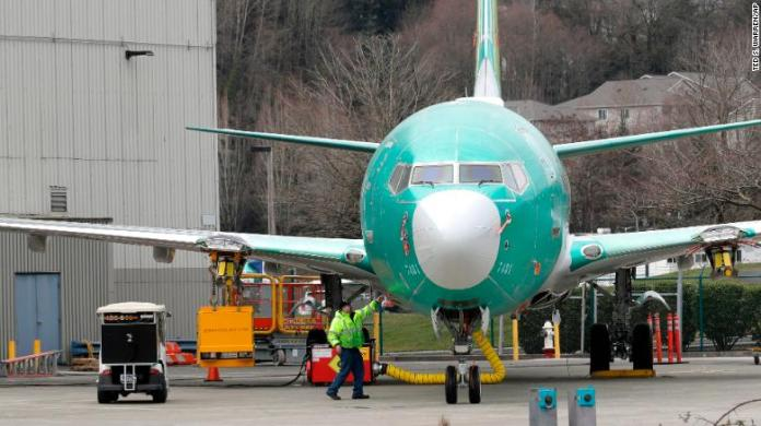 A Boeing 737 Max 8 parked at the company assembly plant in Renton, Washington.