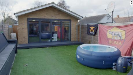 The team trains in a gaming room in the garden.