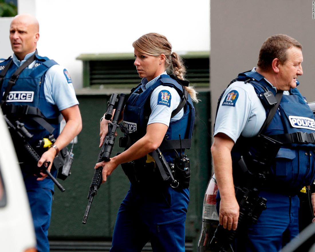 Armed police patrol outside one of the mosques.
