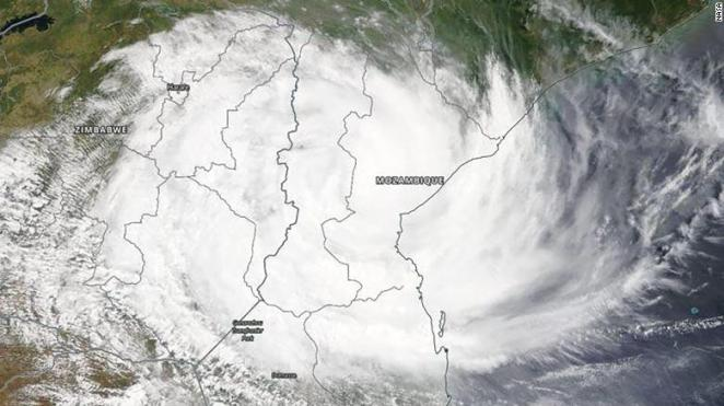 A NASA aerial image shows Cyclone Idai on Wednesday, prior to making landfall.