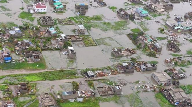 The scale of damage caused by Tropical Cyclone Idai is seen in Mozambique's Beira on Sunday.