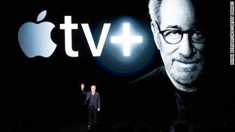 Director Steven Spielberg speaks during the launch of Apple TV +
