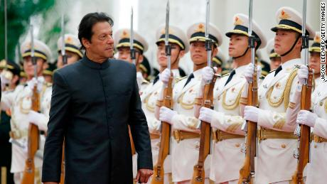 Pakistani Prime Minister Imran Khan attends a welcome ceremony at the Great Hall of the People in Beijing on November 3.