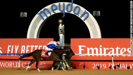 By a nose ... Thunder Snow wins the Dubai World Cup.