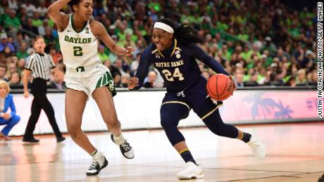 Finishing with 31 points, Arike Ogunbowale couldn't quite match last year's heroics for Notre Dame, missing a free throw in the final 1.9 seconds that could have helped forced overtime.