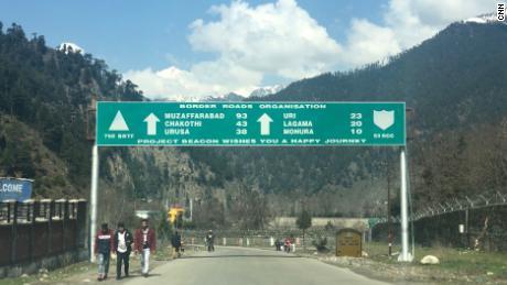 Signposts on the road between Uri and Srinagar.