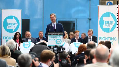 Nigel Farage speaks at the launch of the Brexit Party in Coventry, England.