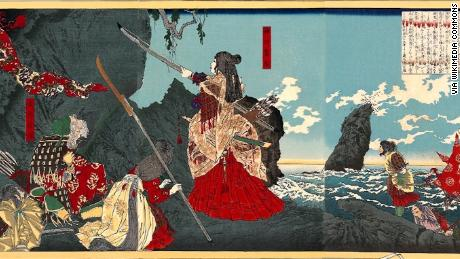 Empress Jingu depicted in a woodblock print is viewed as a quasi-mythical, quasi-historical figure.