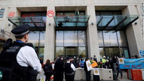 Demonstrators surround London's Shell Centre.
