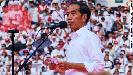 Indonesian President Joko Widodo at a rally at Jakarta's main stadium on April 13, 2019 in Jakarta.
