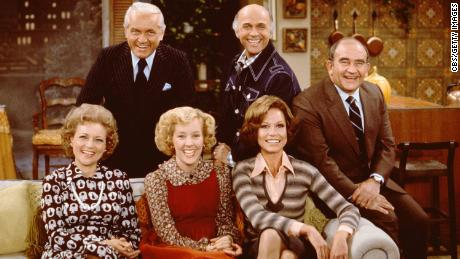 "The cast of the CBS situation comedy ""Mary Tyler Moore,"" November 21, 1975."