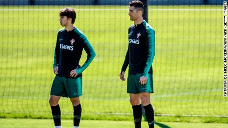 Cristiano Ronaldo (R)  Joao Felix train for the Portugal national team.