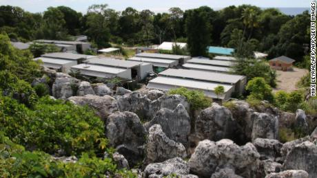 A general view of refugee dwellings at Camp Four on the Pacific island of Nauru on September 2, 2018.