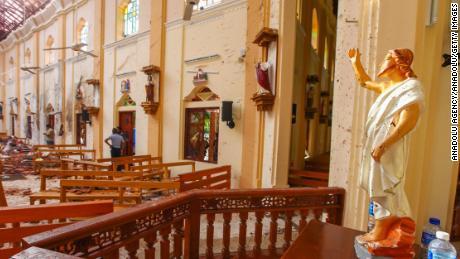 The damage at St. Sebastian's Church in Colombo, Sri Lanka.
