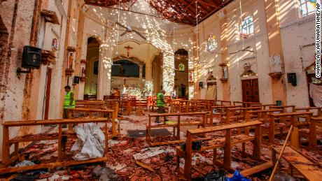St. Sebastian's Church in Negombo was severely damaged in the attacks.