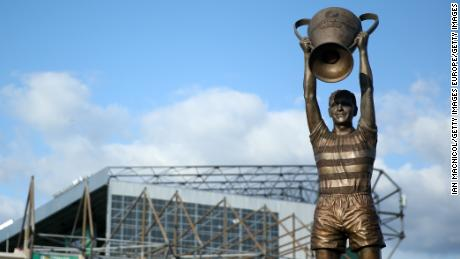 The Billy McNeill Statue outside Celtic Park in Glasgow, Scotland.