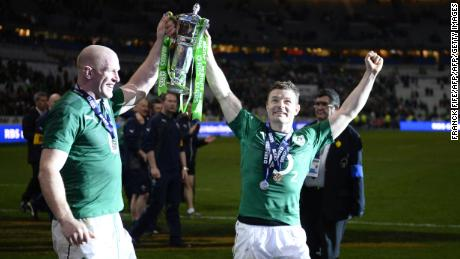 Brian O'Driscoll (right) and Paul O'Connell celebrate winning the Six Nations in 2014