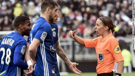 Frappart is the first woman to referee a Ligue 1 match.