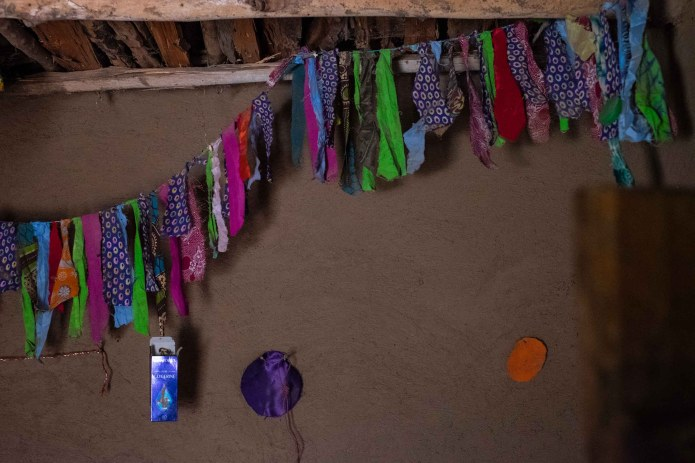 A strand of fabric decorating Chaha and Wambura's home.
