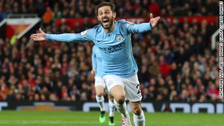 Bernardo Silva celebrates scoring his team's first goal during the 2-0 win at Old Trafford.