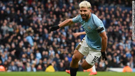 Sergio Aguero celebrates scoring his team's third goal in the 6-0 win over Chelsea.