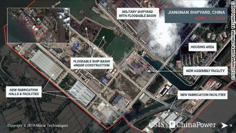 Satellite images from April show a rapid series of changes at the Jiangnan shipyard, outside of Shanghai.