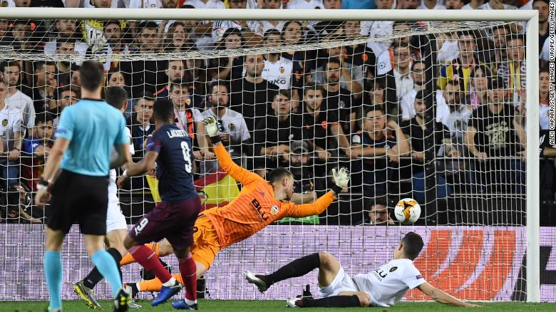 Alexandre Lacazette scored Arsenal's second goal of the night in Valencia.