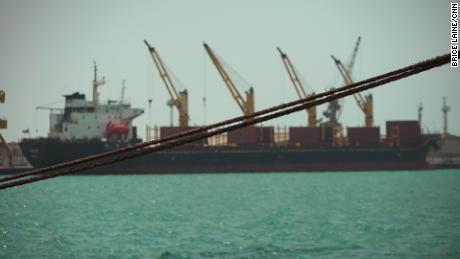 A  ship at the docks in Hodeidah, Yemen.