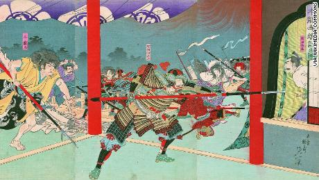 """Nobunaga Oda was forced to commit """"harakiri"""", a form of Japanese ritual suicide by disembowelment after his defeat in the Battle of Honno-ji."""