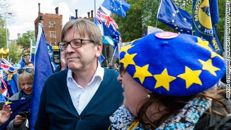 Guy Verhofstadt with a group of European Union supporters protesting against Brexit in London.