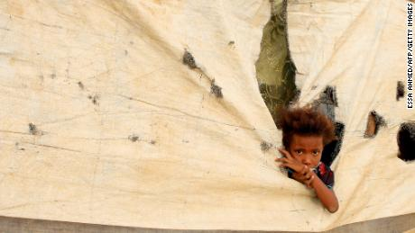 A Yemeni child who fled fighting is pictured at a makeshift camp in Abs this month.