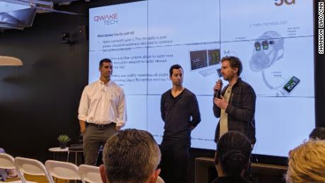 Qwake Technologies presents its company to a group of first responders at a Verizon 5G Labs event on Monday.