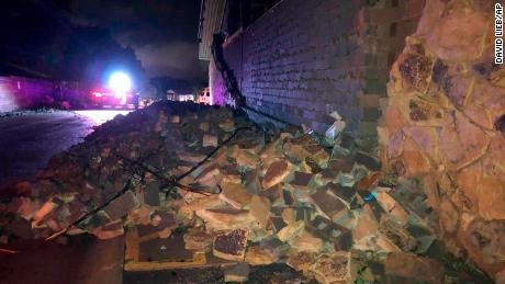 A wall collapsed during the tornado in Jefferson City on Thursday.
