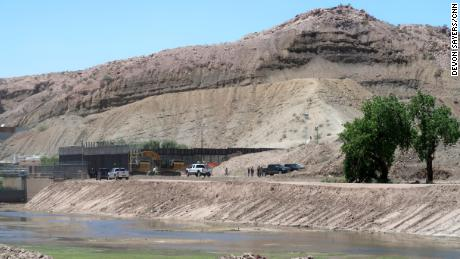 CNN on Monday observed construction crews working with heavy machinery in an area of the US-Mexico border near the New Mexico-Texas state line.