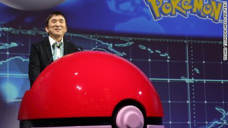 The Pokémon Company president Tsunekazu Ishihara speaking in Tokyo on Wednesday.