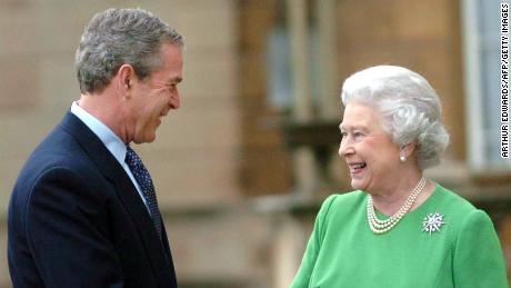 US President George W. Bush and the Queen at the end of a three-day state visit to the UK in 2003.